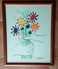 Litografía. Mano con ramo de flores. Pablo Picasso - Pablo Picasso