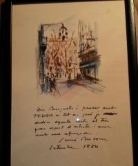 Dibuix amb dedicatoria de Simó Busom a Jaume Busquets - Simó Busom i Grau